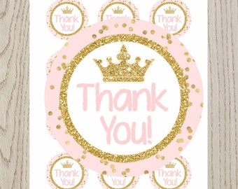 "Little Princess thank you tags, Little Princess, thank you stickers 2"", Baby shower little princess, Little Princess birthday, digital File."