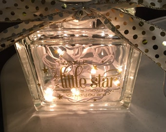 Twinkle Twinkle little star glass block, Baby glass block, Lighted glass block