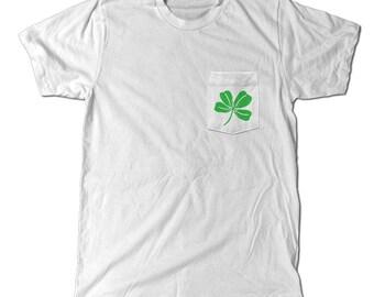 4 Leaf Clover Pocket T-Shirt, Good luck, Saint Patricks daym Irish Tee, st. paddy's day