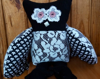 Owl Ben textile owl  soft art  vintage owl  black and white Owl Soft Sculpture   birthday gift stuffed textile friend