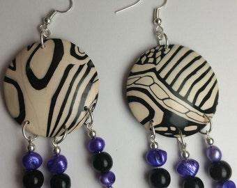 Polymer Clay Jewelry - Zebra Stripe Earrings (polymer clay earrings, zebra jewelry)