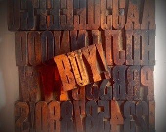"Vintage 3-1/4"" WOODEN Letterpress Printing Blocks -  Letters, Numbers, Punctuation"