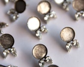 12mm Oxidized Silver Blank Earring Setting with Post & Double Teardrop Crystals - DIY Jewelry - 15mm Cabochon Setting  - Choose Your Stones