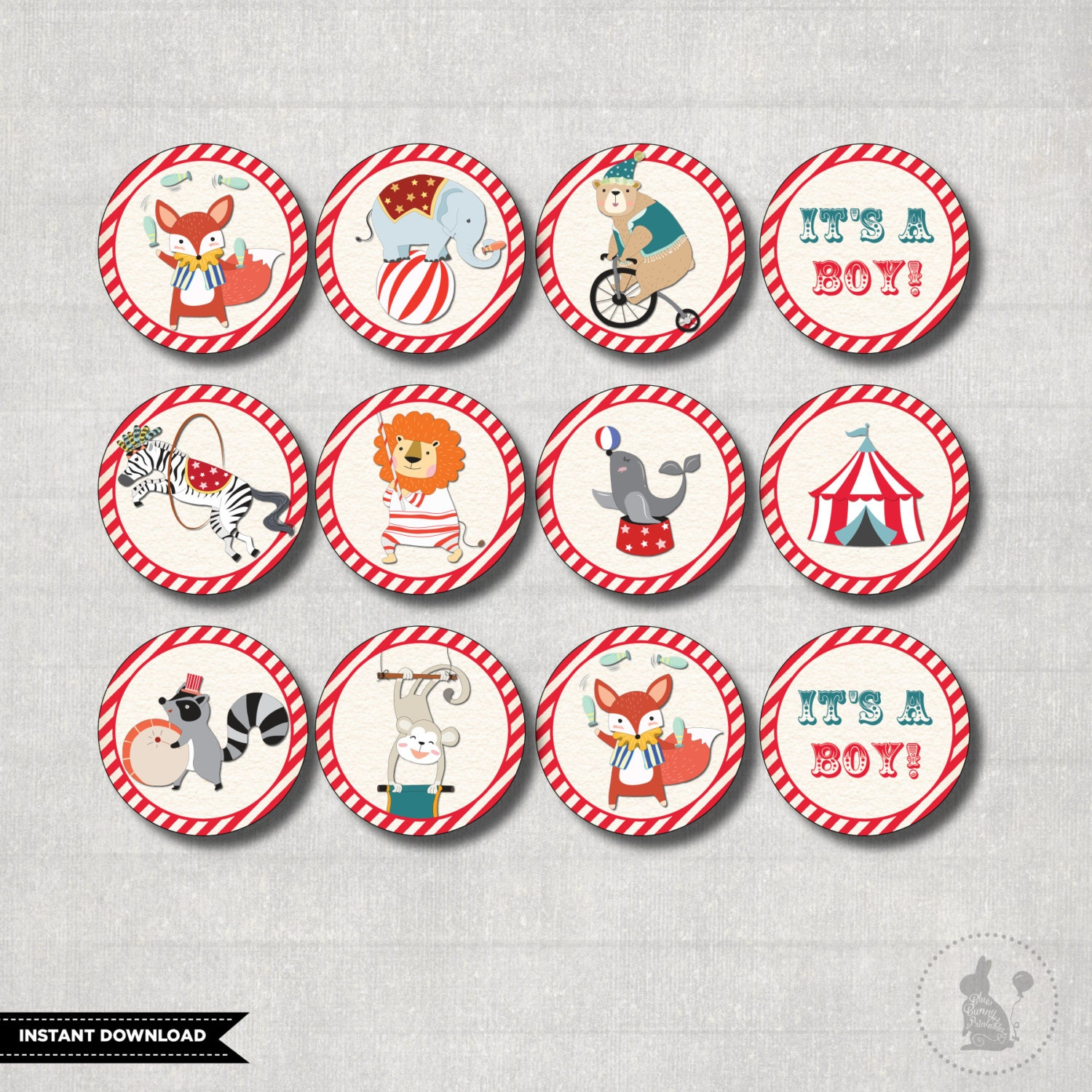 Baby Shower Favors Vintage ~ Carnival cupcake toppers instant download circus baby shower