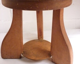 Vintage Wooden Child's Nursery Stool with Nursery Rhyme Carving