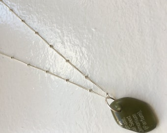 Aveda bottle glass necklace