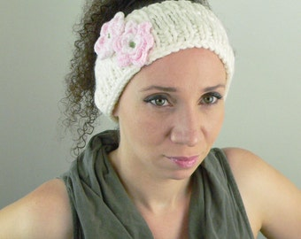 Knitted Headband, Earwarmer with Pink Flowers