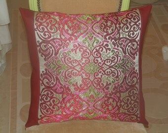 Embroidered fabric cushion