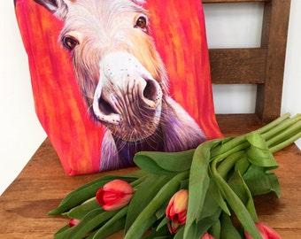 Colorful Donkey Canvas Tote Bag, Craft Bag, Gym Bag or School Bag