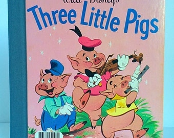 Handbound Sketchbook Journal, The Three Little Pigs Upcycled Vintage Little Golden Book