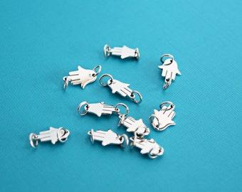 Side Hamsa Link, Tiny Hamsa ,Sterling Silver Hamsa Hand Link, Tiny Hand Link, Hand Charm, Hamsa Charm, Tiny Hamsa Charm, Connector, SS402