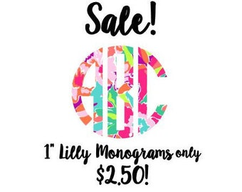 Lilly Pulitzer Monogram Decal SALE , Lilly Inspired Decal Monogram, One Inch Decal, Lilly car decal, Lilly Pulitzer Yeti decal Custom Decal