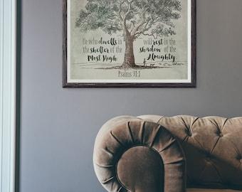 Printable Wall Art ~ INSTANT DOWNLOAD ~ Psalms 91:1 ~ Scripture Art ~
