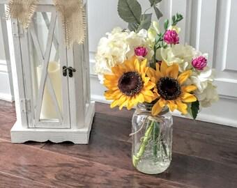 Silk Floral Arrangement: Rustic Centerpiece, Mason Jar Decor, Sunflowers and Hydrangeas in a Mason Jar with Faux Water