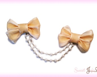 Golden Ribbon Bow Clips - Pearl Chain connecting 2 Bows - Kawaii Classic and Sweet Lolita Hair Accessory