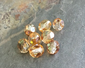 25 Luster Gold Firepolished Czech Glass Round Beads 6mm