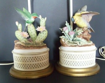 Vintage Porcelain Bird Lamps - Pair of Lamps - Hummingbird Lamp and Finch Lamp