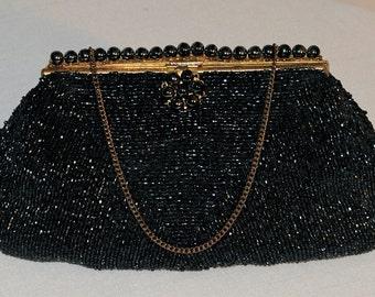 Vintage 1910s French Black Glass Beads Purse - Marthe de Paris