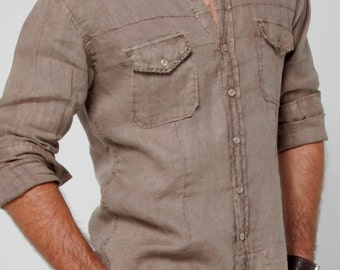 100% LINEN button-down shirt with hand-stitching Style 1021