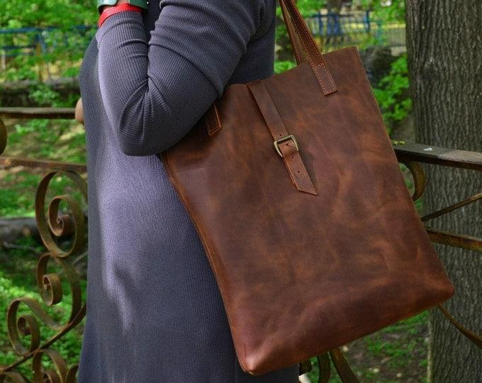 Leather tote bag Leather bag Tote bag Cognac leather tote Light Brown leather bag Handbag Leather purse Shoulder bag Large leather tote