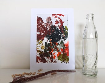 Green, Brown, Red, Abstract Autumn Leaves Print, Mounted Original Artwork