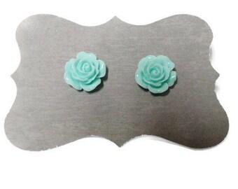 Blue Rose Flower Earrings