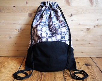 Gem Print Drawstring Bag Backpack