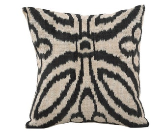 15x15 Uzbek hand-woven black & white ikat pillow cover in silk velvet