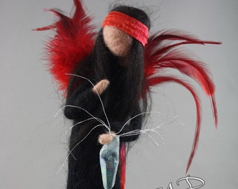 Felted wool red and black fairy