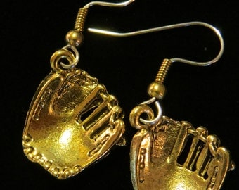 Baseball Glove Mit Earrings 24 karat Gold Plate Sport EG179G