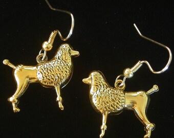French Poodle Earrings Dog 24 Karat Gold Plate or Oxidized Matte Silver EG306 / ES298 / EG585B