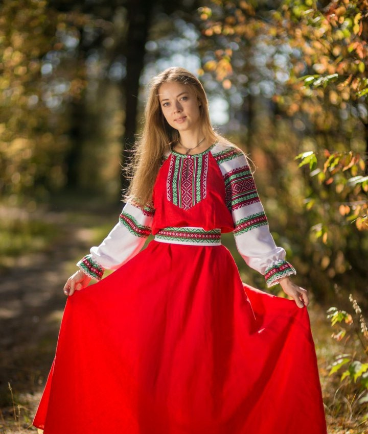 Traditional: Traditional Russian Long Sleeve Linen Sarafan