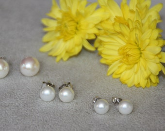 6mm, 8mm and 10mm Pearl Stud. Freshwater pearls stud earrings. Sterling Silver earrings. Stud earrings. Pearl earrings. Mother's day