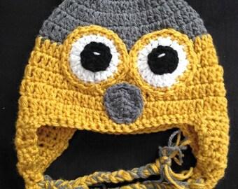 crochet baby hat, baby owl hat, crochet owl hat, baby boy owl hat, yellow owl hat, newborn owl hat, infant owl hat, toddler boy owl hat