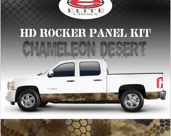 "Chameleon Hex Desert Camo Rocker Panel Graphic Decal Wrap Truck SUV - 12"" x 24FT"