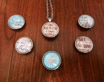 BEACH Ocean Snap Charms | Snap on Jewelry | PICK ONE | 20mm | Beach Girl, Flip Flops, Ocean, Aquatic | Snap Jewelry | Silver Snaps