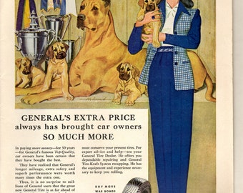 "1944 vintage magazine ad for The General Tire co. "" Extra price so much more"""