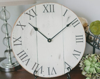 Wall clock. White clock. Rustic wall clock. Wood clock.