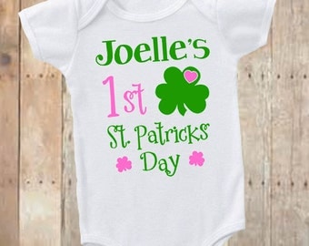 Personalized 1st St. Patricks day, st. pattys day bodysuit, first st. patricks day, pink and green st patricks day shirt, infant st. pattys