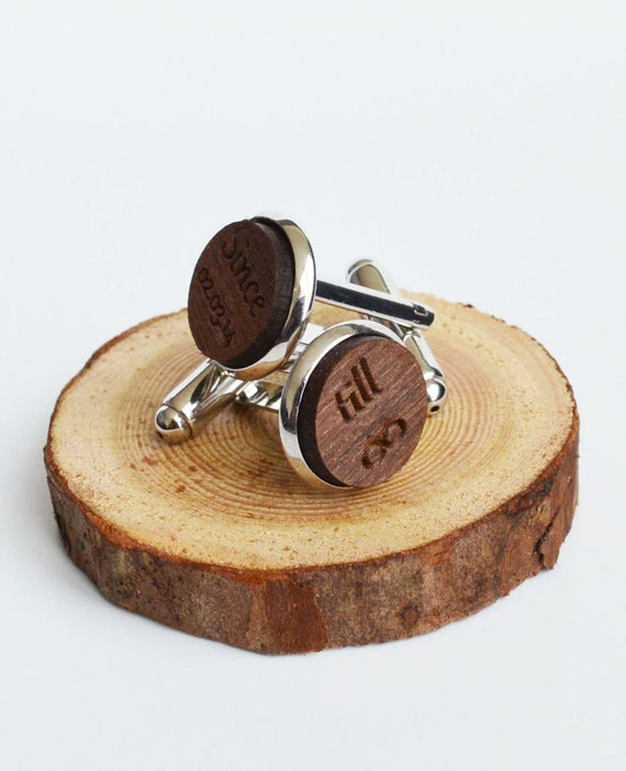 Personalised Wood Cufflinks, Engraved Walnut Wood Cuff Links With Metal Surrounds