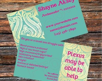 Gold and Teal Plexus Business Cards