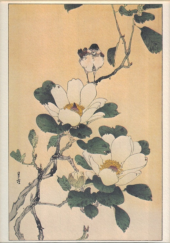 MAGNOLIA by Yoshimoto Gesso | Framed Art Lithograph | Contemporary Japanese Artist | Portal Publications | Asian Flower Branch & Bird