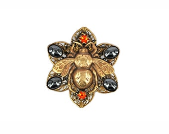Bee brooch bee jewelry vintage bumble Victorian bee bumblebee  brooch insect jewelry hematite swarovski