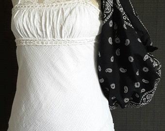 Bandana Handbag - Black Shoulder Bag Purse - Hobo Style  - Womens Accessories - New