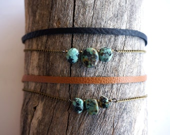 Turquoise Thin Leather Choker - Gold Chain Choker -Turquoise Choker -Turquoise Pendant Double Choker with Chain -Black Leather - Tan Leather