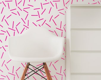 Neon Pink Wallpaper / Traditional or Removable Wallpaper L071