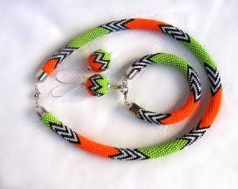 Colorful bright summer orange green bead crochet necklace bracelet earrings jewelry set, beaded necklace bracelet earrings jewelry set