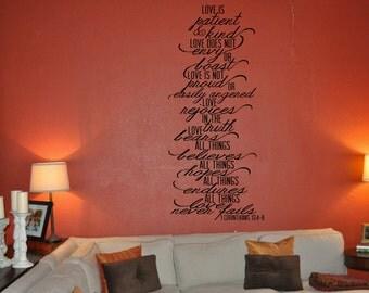 1 Corinthians 13:4-8 Vinyl Wall Decal - Love is Patient, Love is Kind...