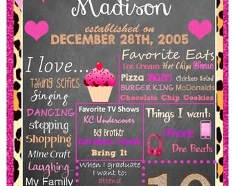 10th Birthday Chalkboard Poster Customized Digital File