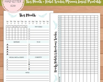 HALF-SIZE This Month with Habit Tracker Monthly Planner Insert Printable | Fits Kikki K Large & Filofax A5 Instant Download